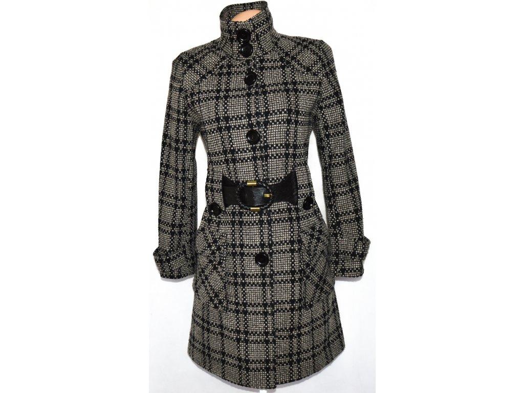 Vlněný dámský šedý kostkovaný kabát s páskem Perrie vel. L