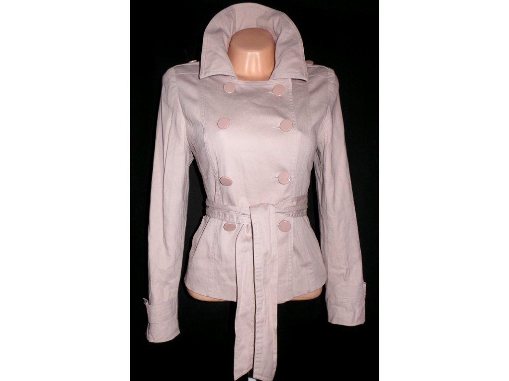 Bavlněný dámský béžový kabát s páskem TCM L