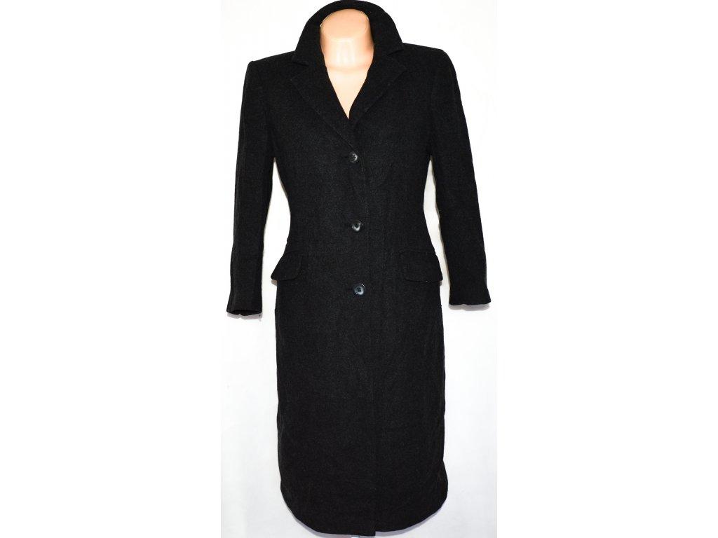 Vlněný dámský dlouhý šedočerný kabát House of Frazer 14/40 (vlna,kašmír)