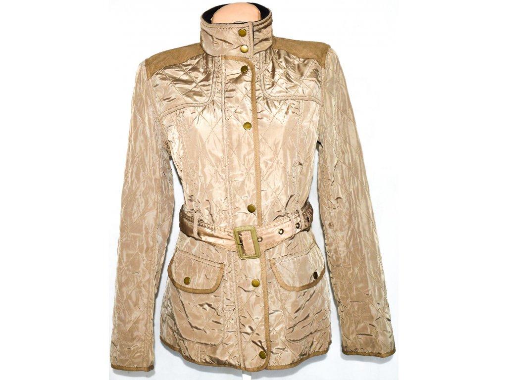 Dámský hnědý prošívaný kabát na zip 7b465432e28