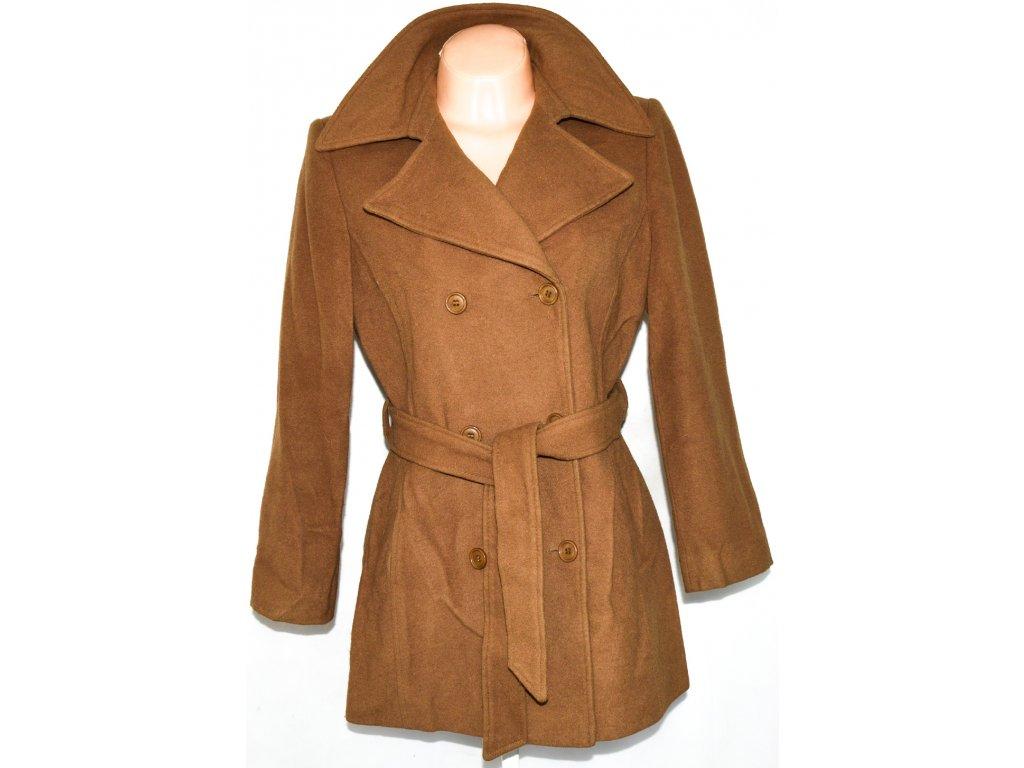 Vlněný dámský hnědý kabát s páskem APANAGE M