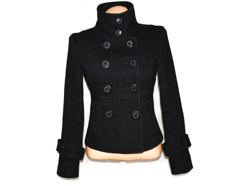 Vlněný dámský šedočerný kabát RIVER ISLAND L