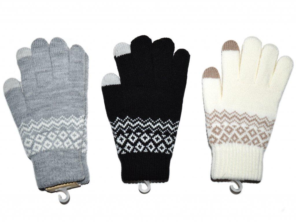 NOVÉ Dámské teplé rukavice se vzorem, s dotykem na mobil - více barev