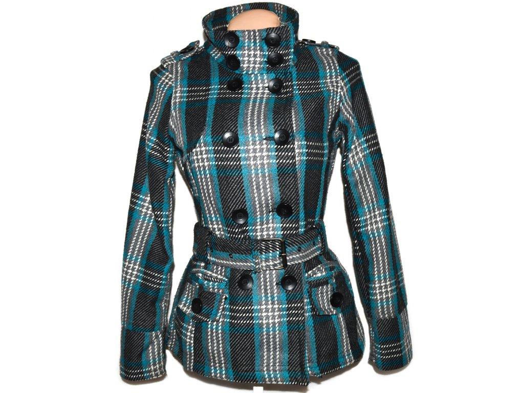 Dámský šedo-tyrkysový kabát s páskem