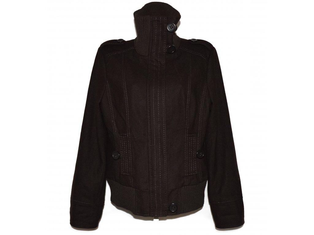 Vlněná dámská hnědá bunda na zip Camaieu XL