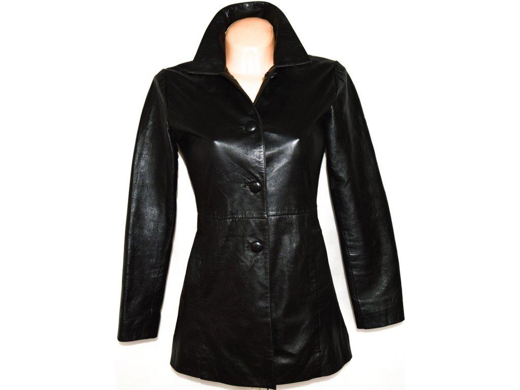 KOŽENÝ dámský černý měkkoučký kabát UK 10 - S/M