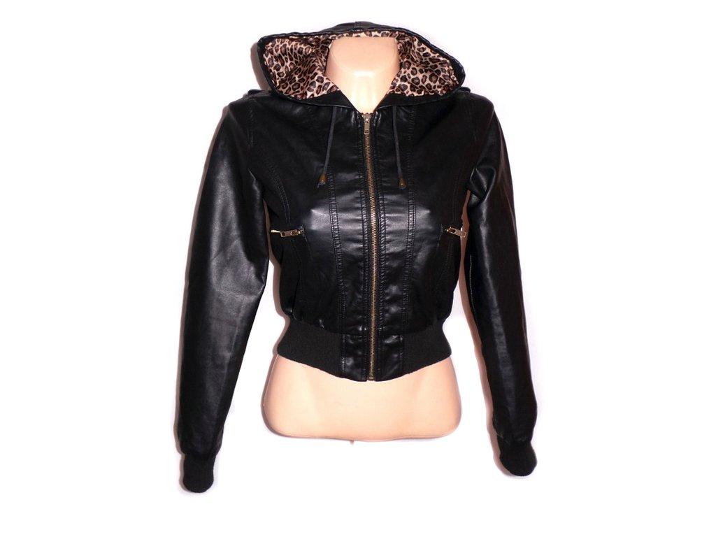 Dámská černá bunda na zip s kapucí vel. S