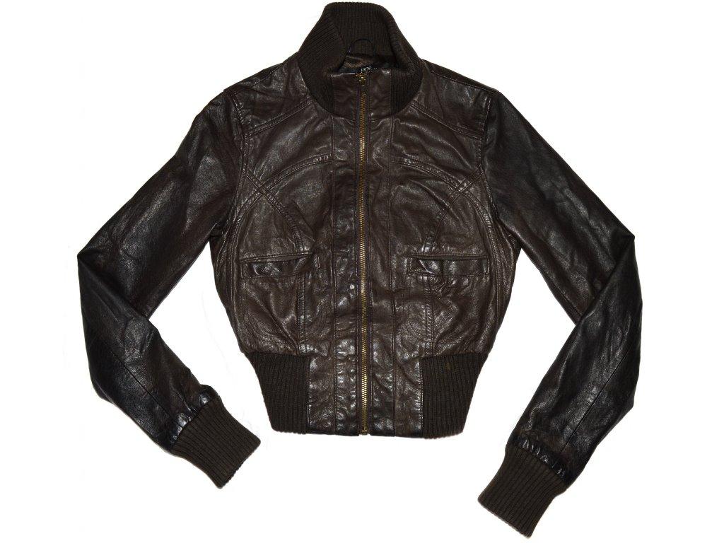 KOŽENÁ dámská hnědá měkká bunda na zip Jane Norman
