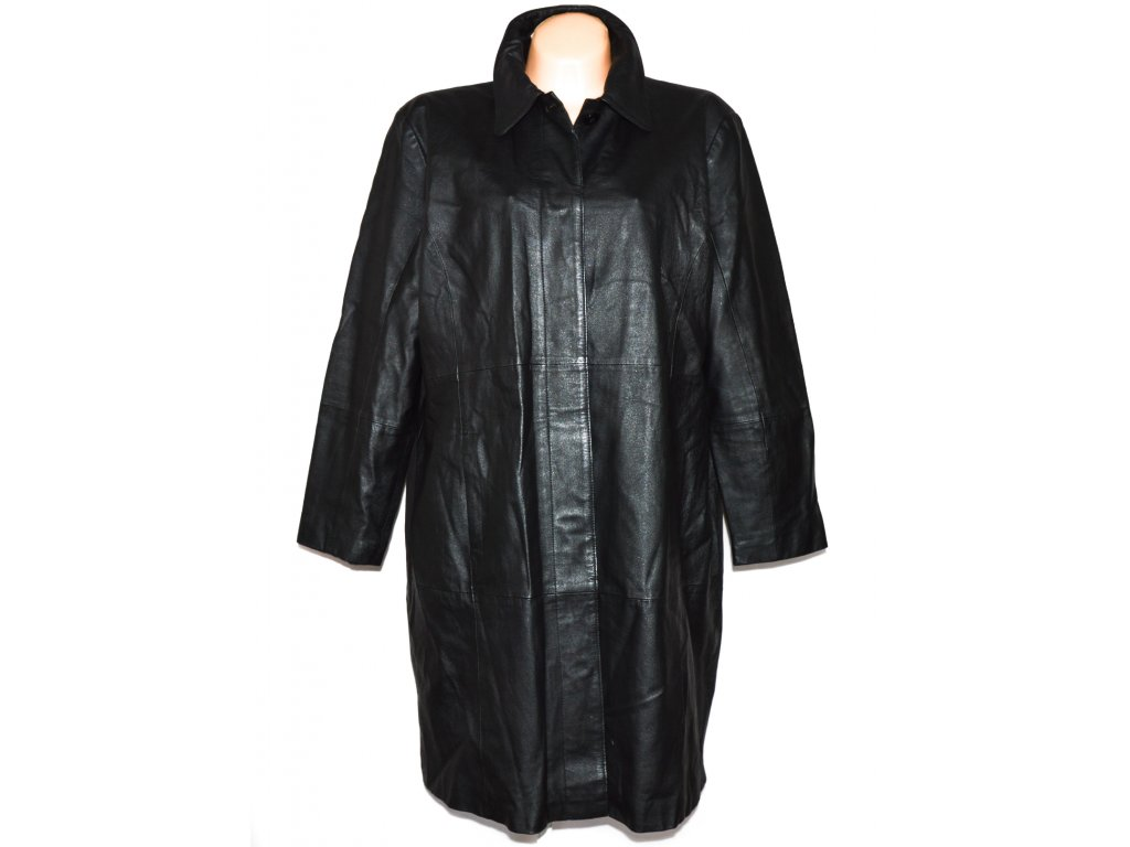 KOŽENÝ dámský černý dlouhý kabát