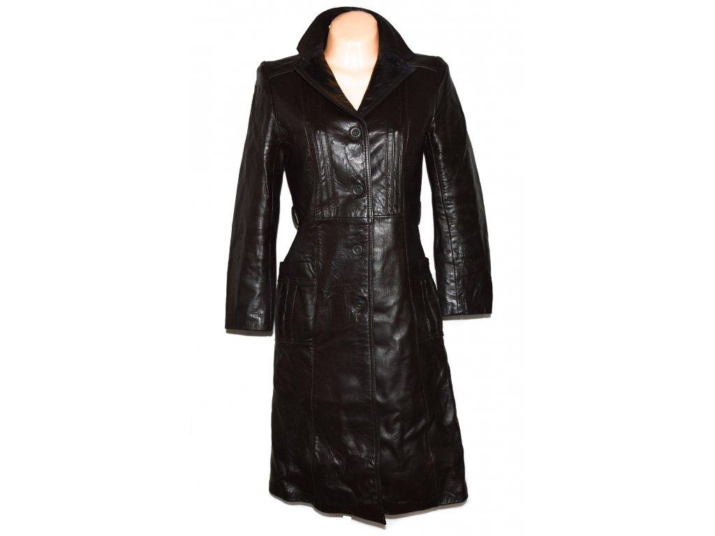 KOŽENÝ dámský hnědý dlouhý kabát M