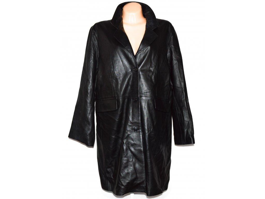 KOŽENÝ dámský černý dlouhý měkký kabát Woodlands XXXL/ 26