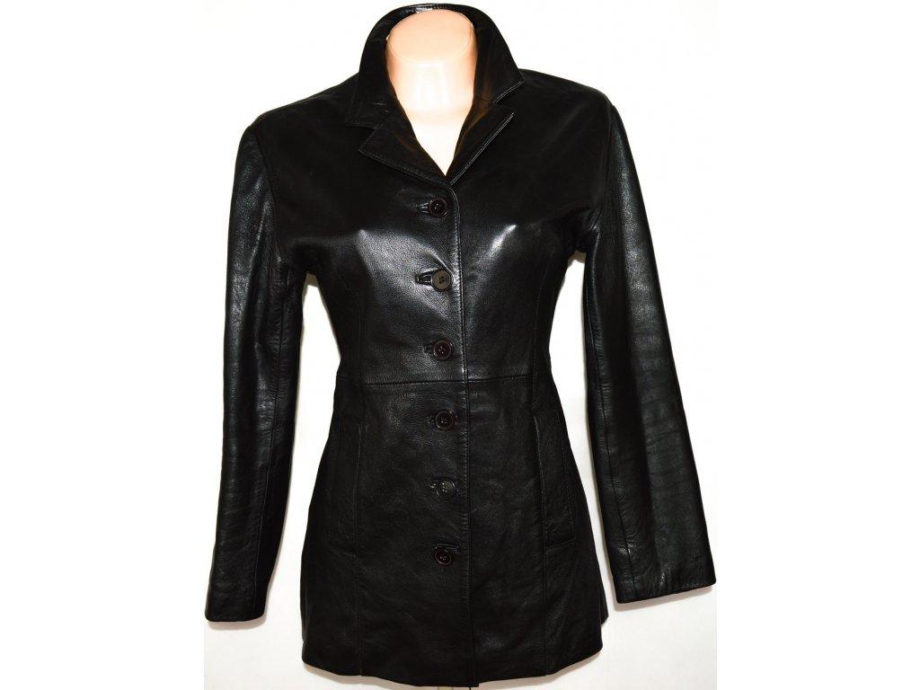 KOŽENÝ dámský černý měkkoučký kabát vel. M