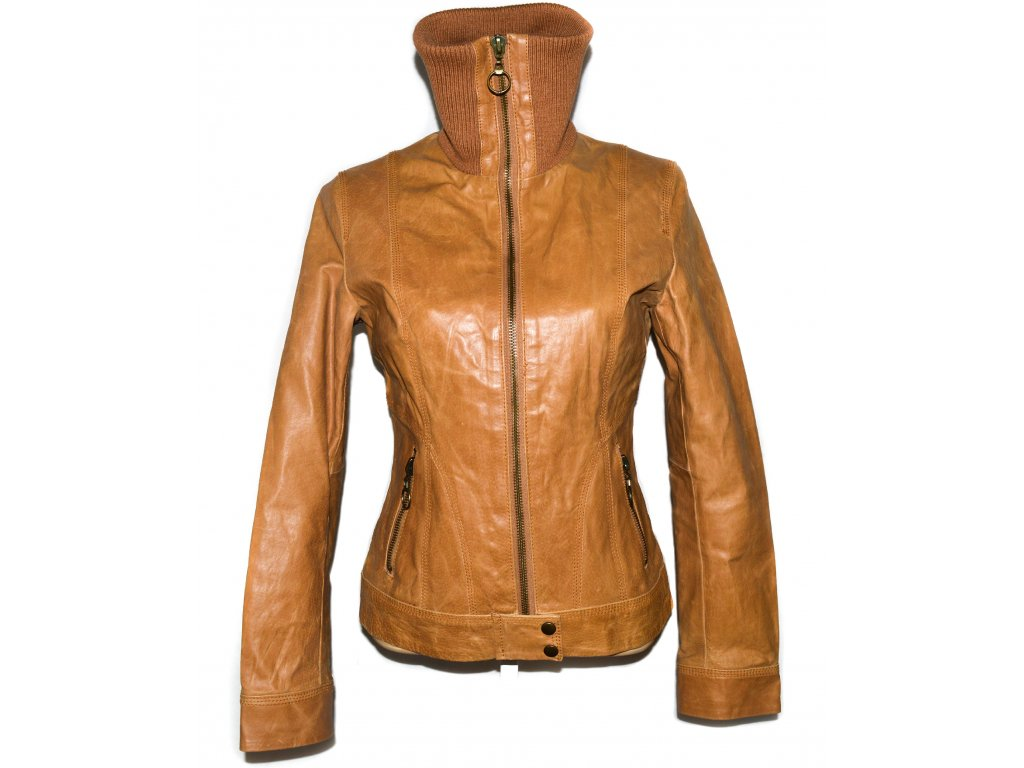 KOŽENÁ dámská hnědá bunda na zip M