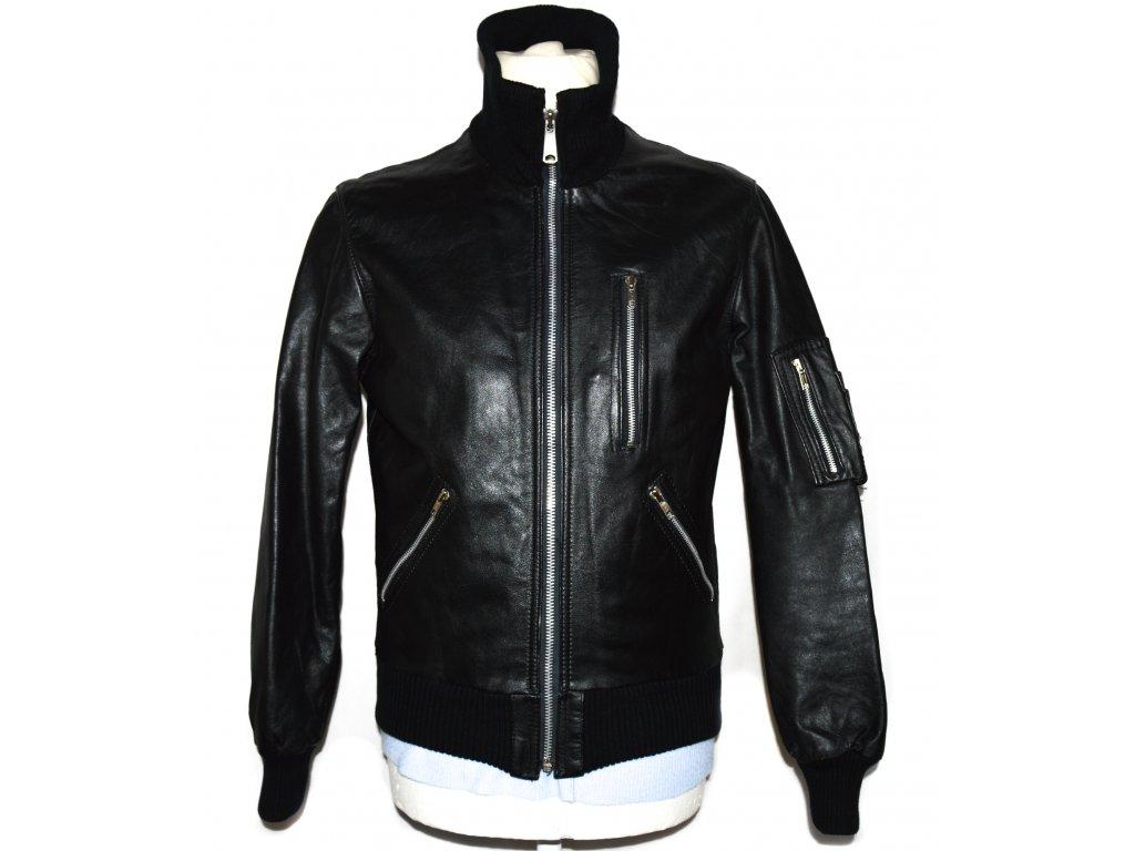 KOŽENÁ pánská černá bunda na zip Echt Leder XS