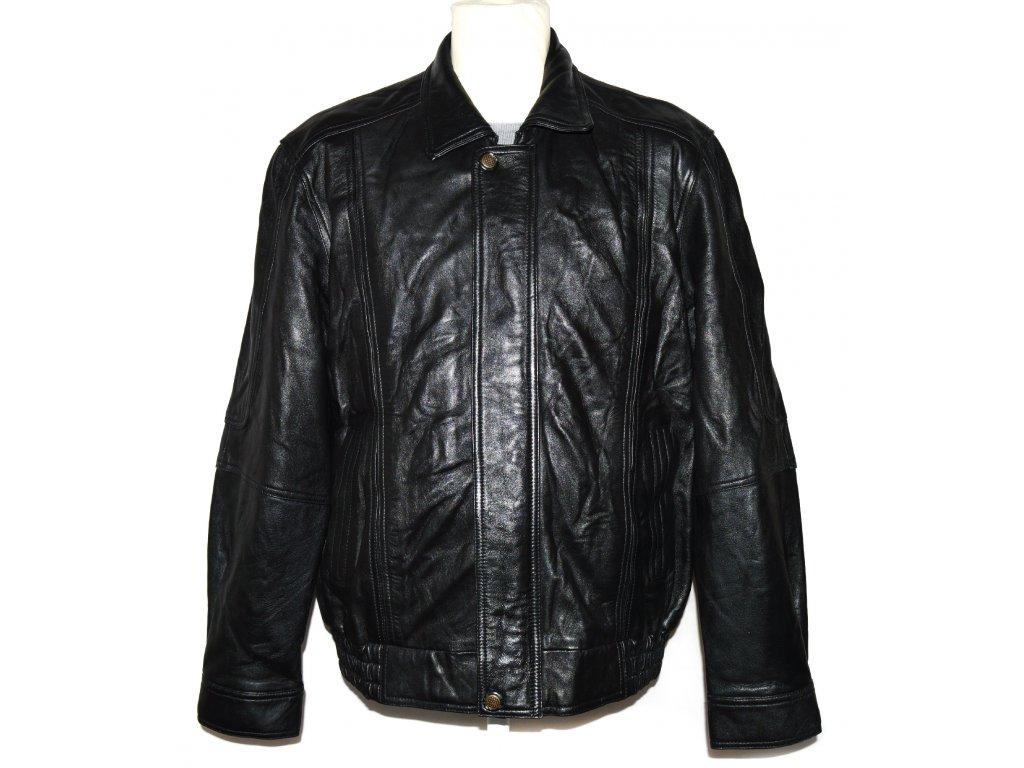 KOŽENÁ pánská černá měkká zateplená bunda na zip Montana XL