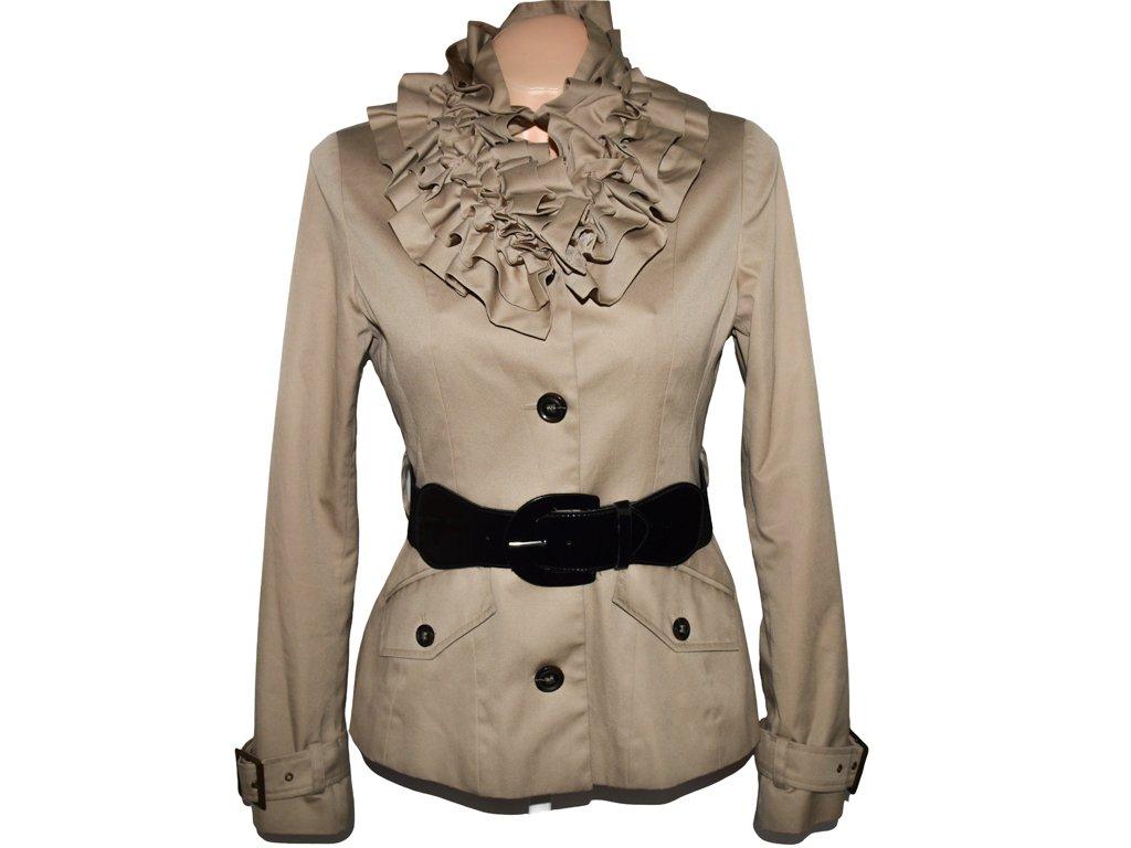 Bavlněný dámský béžový kabát s páskem TOPSHOP S