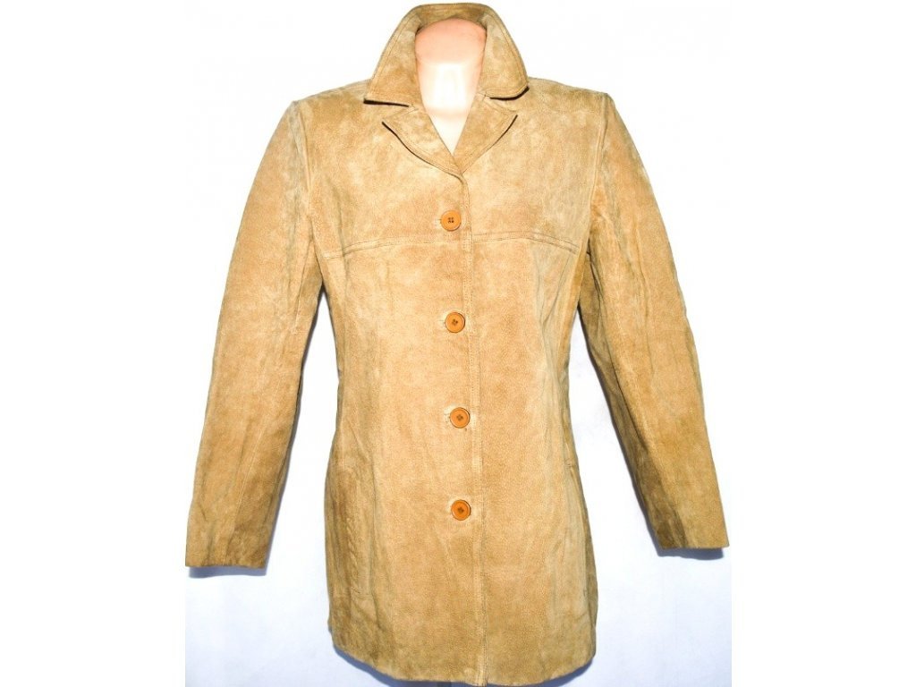 KOŽENÝ dámský béžový kabát WS Leather L/XL