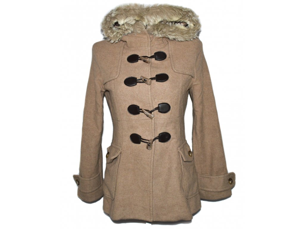 Vlněný dámský béžový kabát s kapucí S