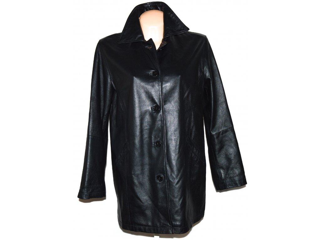 KOŽENÝ dámský černý kabát