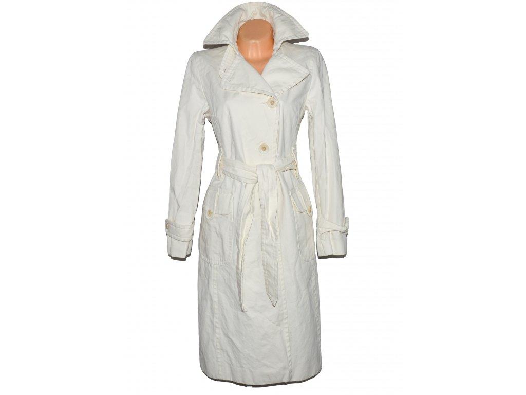 Bavlněný dlouhý krémový kabát s páskem OASIS 14/40