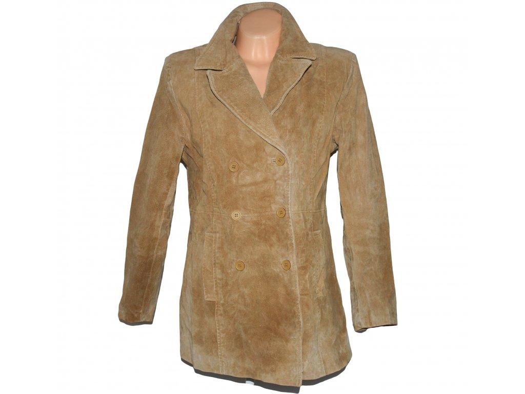 KOŽENÝ dámský béžový kabát Joie de Vivre UK 14