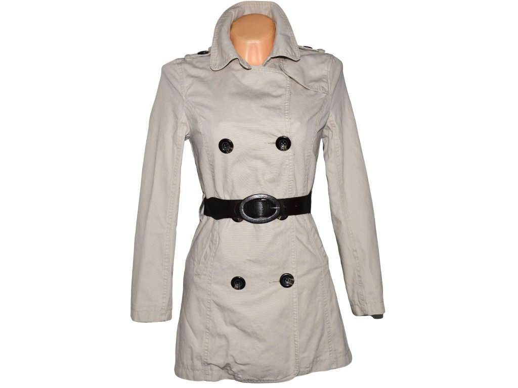 Bavlněný dámský béžový kabát s páskem PAPAYA S