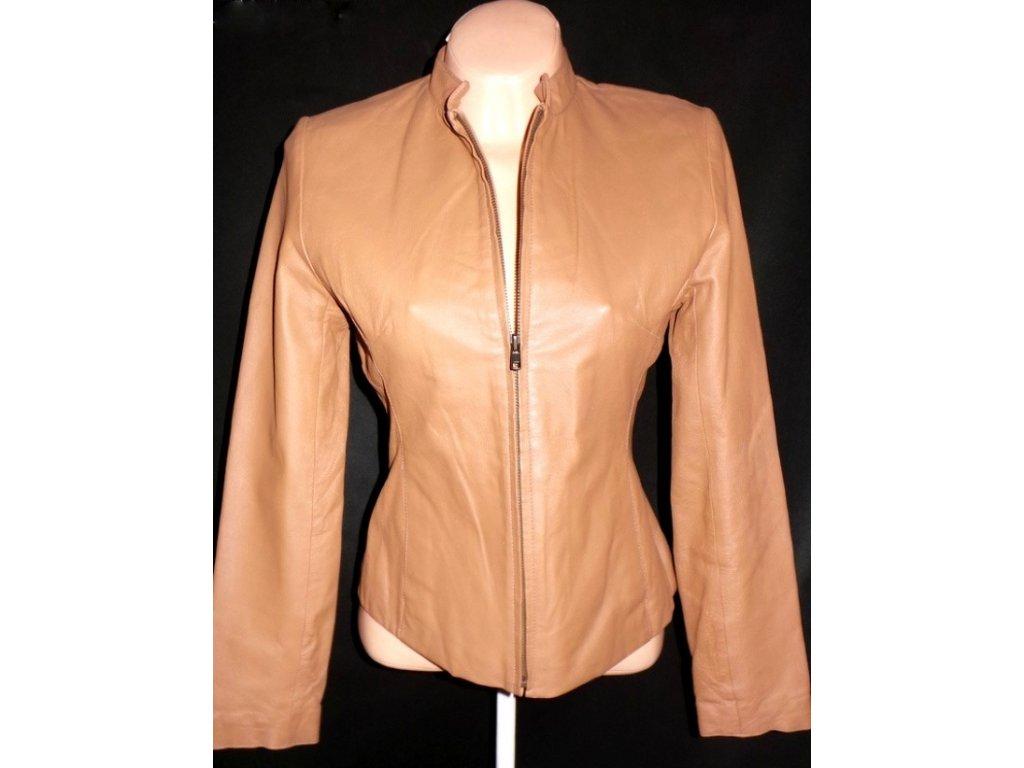 KOŽENÁ dámská hnědá bunda na zip UK 12/ M558ee23eade198d06e570200