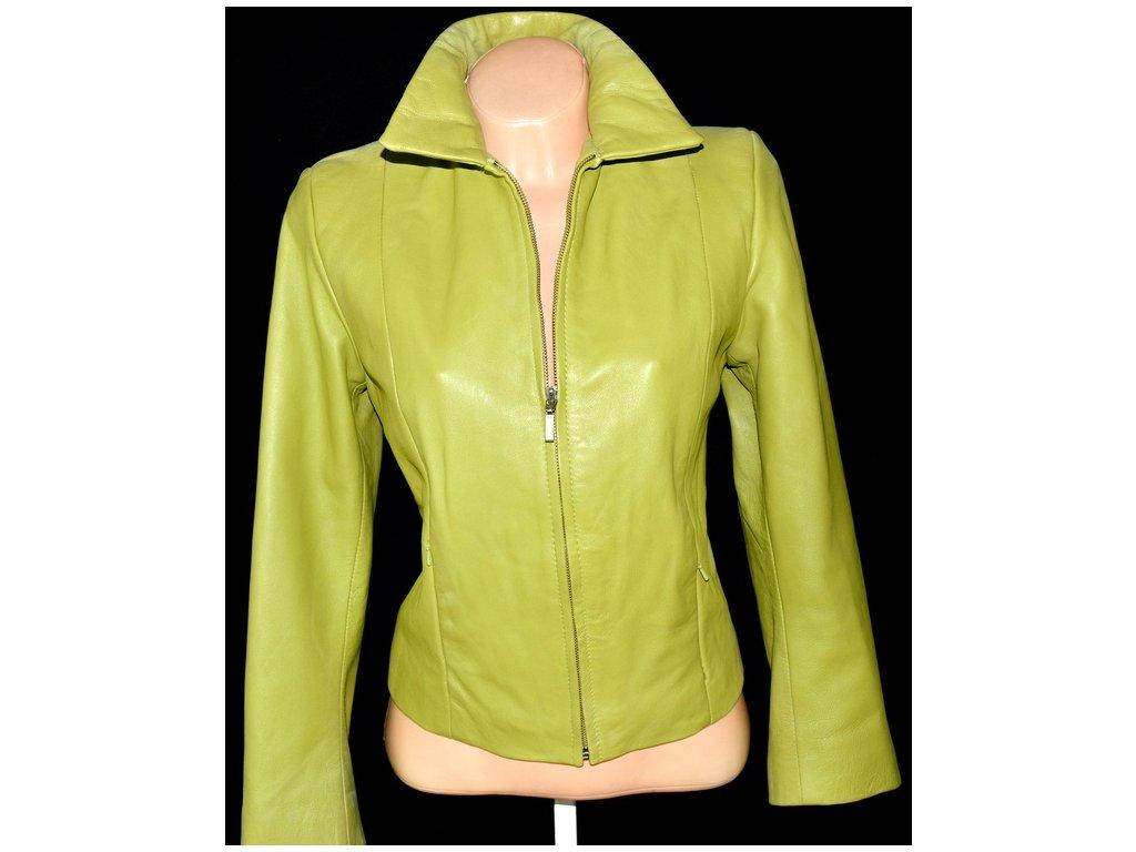 KOŽENÁ dámská zelená měkká bunda MILAN LEATHER vel. S