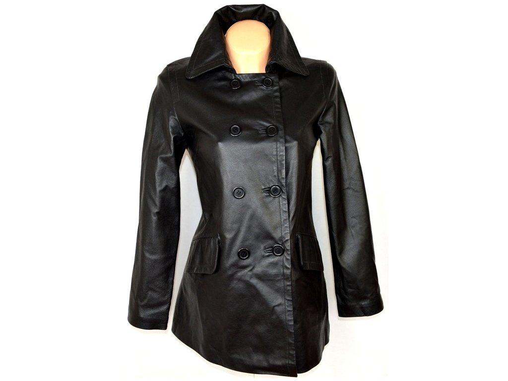 KOŽENÝ dámský měkký černý kabát FOR WOMEN