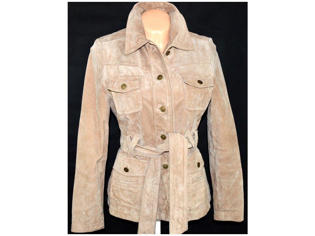 KOŽENÝ dámský hnědý kabát s páskem VESTRY