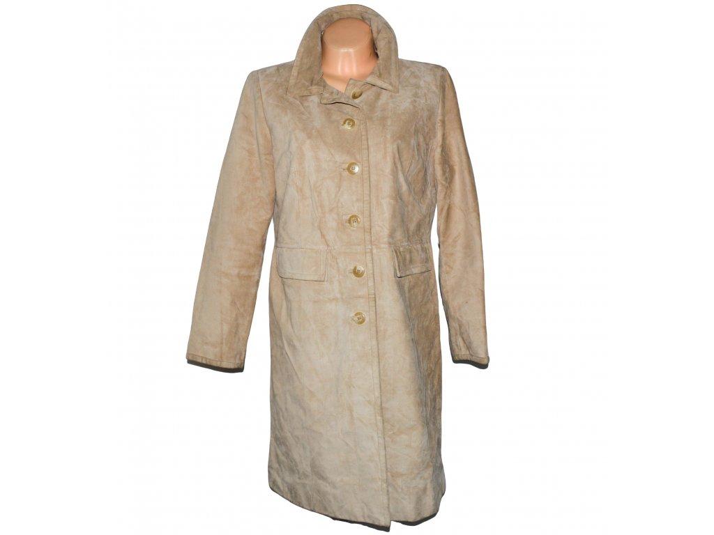 KOŽENÝ dámský béžový broušený kabát Marks&Spencer L/XL