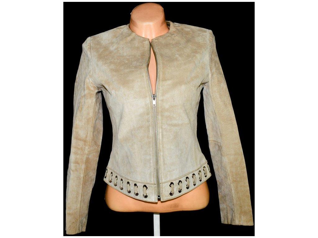KOŽENÁ dámská béžová bunda na zip DETAIL S