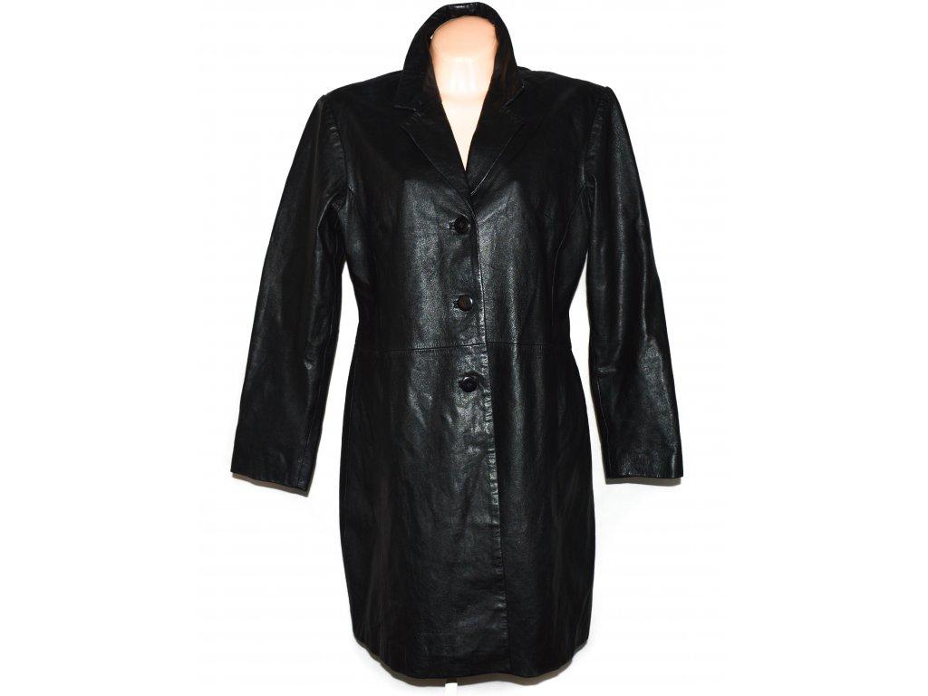 KOŽENÝ dámský černý dlouhý měkký kabát XXL/ UK 20