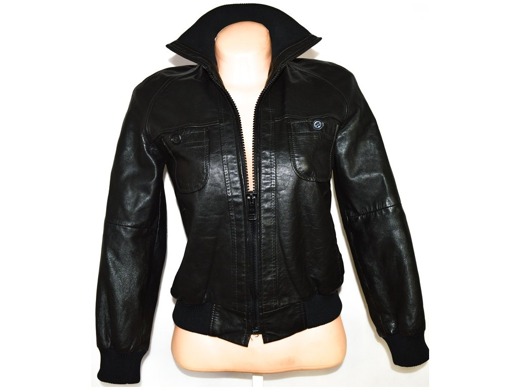KOŽENÁ dámská černá bunda na zip vel. S