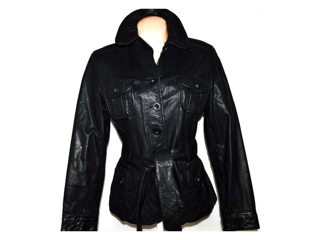 KOŽENÝ dámský černý kabát s páskem F&F XL