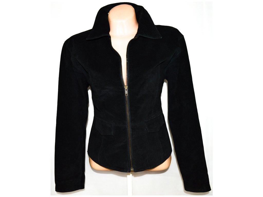 Kožená dámská broušená černá bunda na zip David Conrad L