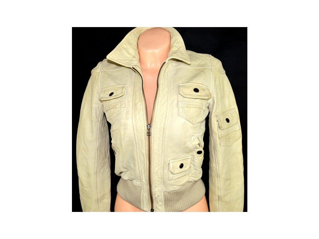 KOŽENÁ dámská měkká krémová bunda NEXT