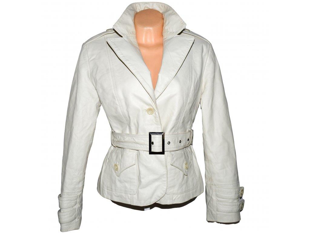 KOŽENÝ dámský zateplený bílý kabátek s páskem HI-BUXTER 42