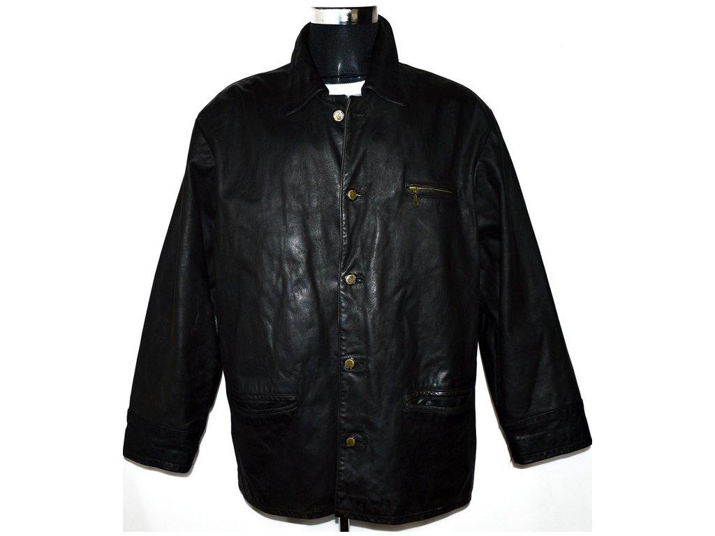 KOŽENÁ pánská černá zateplená bunda LAKELAND XL