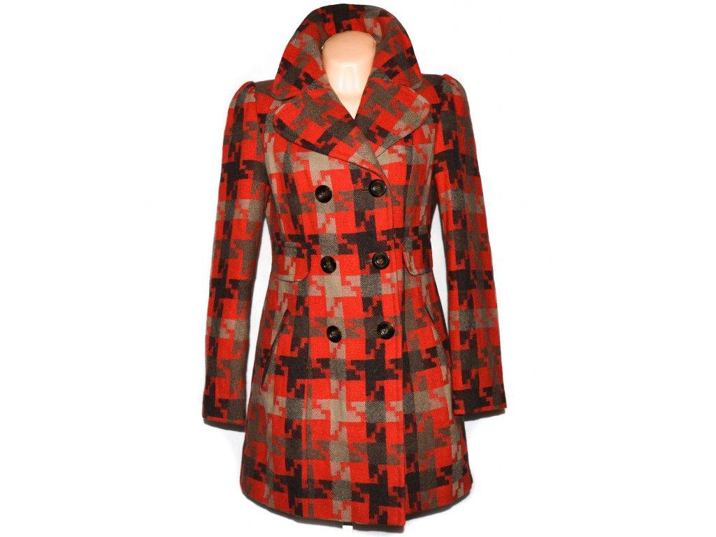 Vlněný dámský oranžový kabát Next UK 12