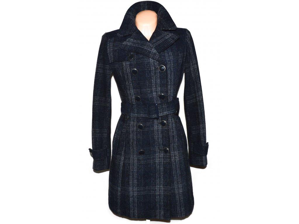 Vlněný dámský modrý kabát s páskem ORSAY 38