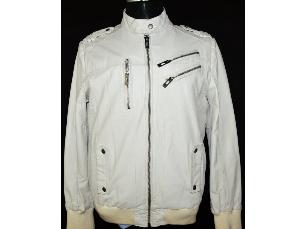 KOŽENÁ pánská bílá měkká bunda na zip John Devin L