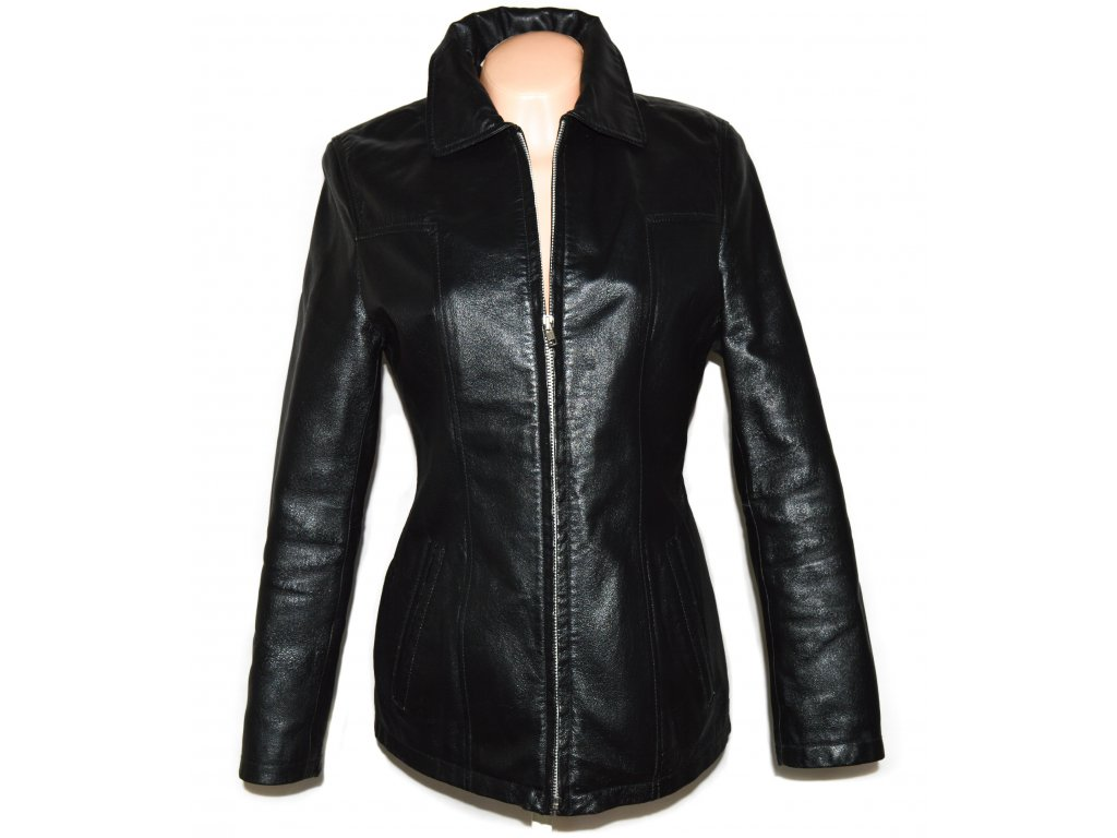 KOŽENÁ dámská černá zateplená bunda na zip C&A 10/36