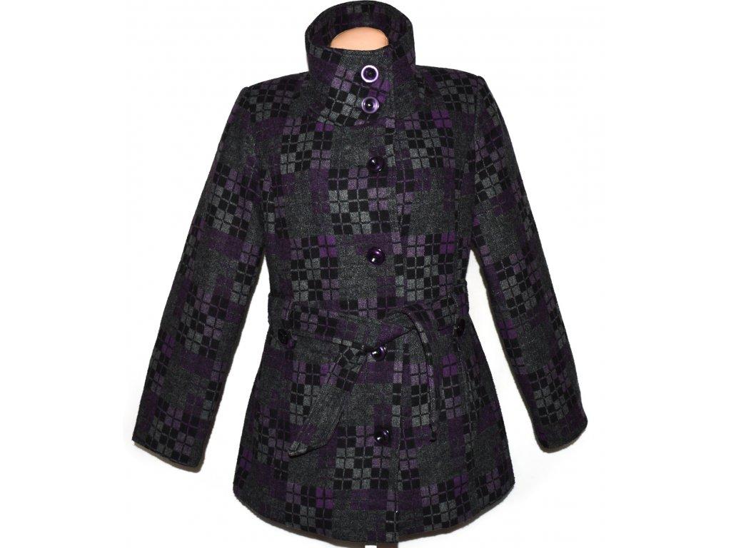 Dámský šedo-fialový zateplený kabát se vzorem Jack XL