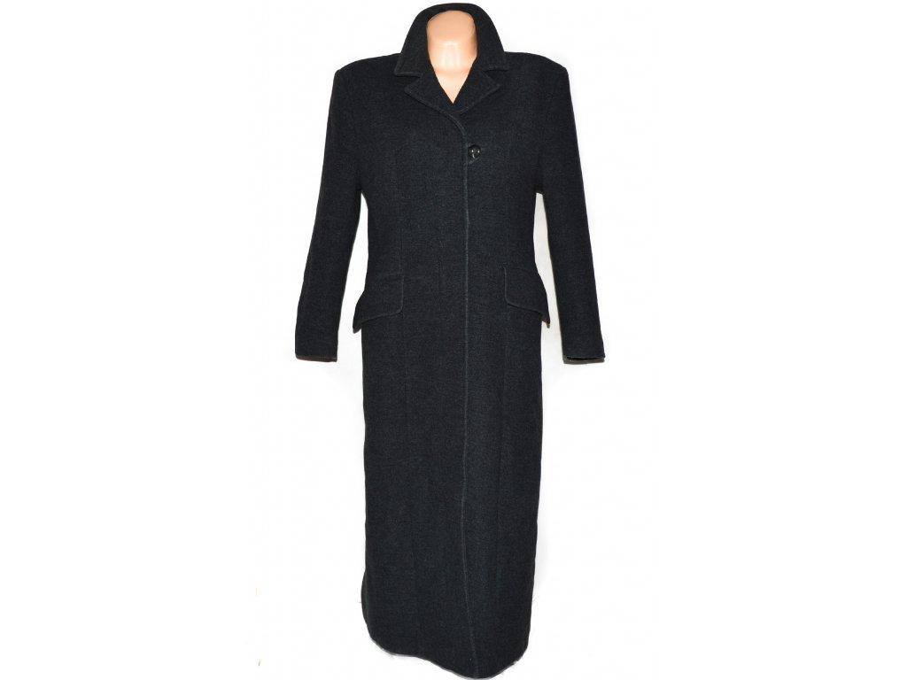 Vlněný (70%) dámský šedý dlouhý kabát (vlna, kašmír) XL