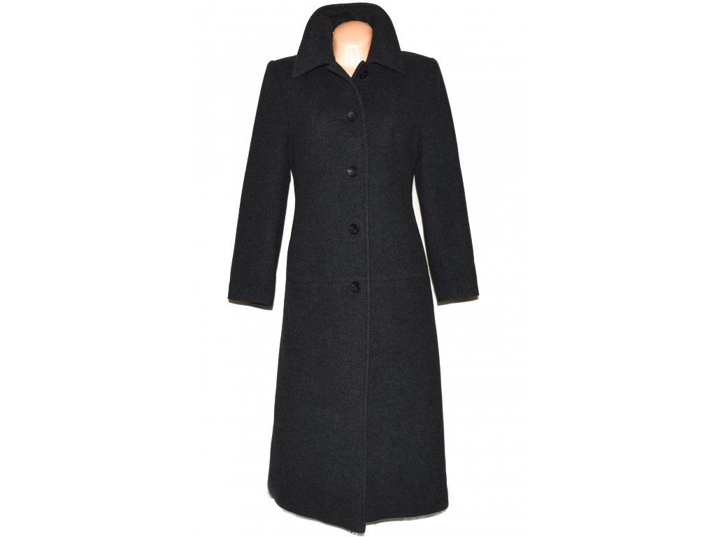 Vlněný (70%) dámský šedý dlouhý kabát (vlna, kašmír) 38