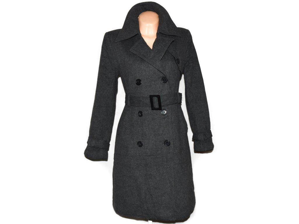 Vlněný dámský šedý zateplený kabát s páskem TCM 14/40 3
