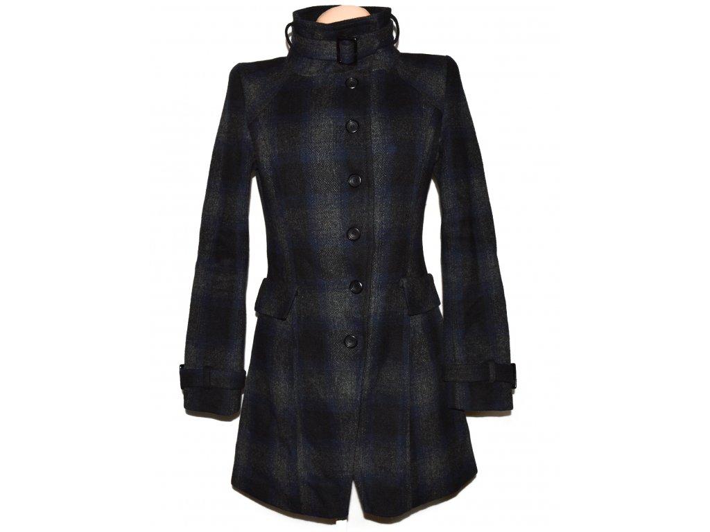 Vlněný dámský černomodrý kostkovaný kabát Clockhouse M