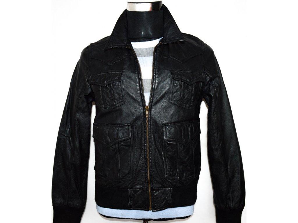 KOŽENÁ pánská černá bunda na zip H&M vel. S