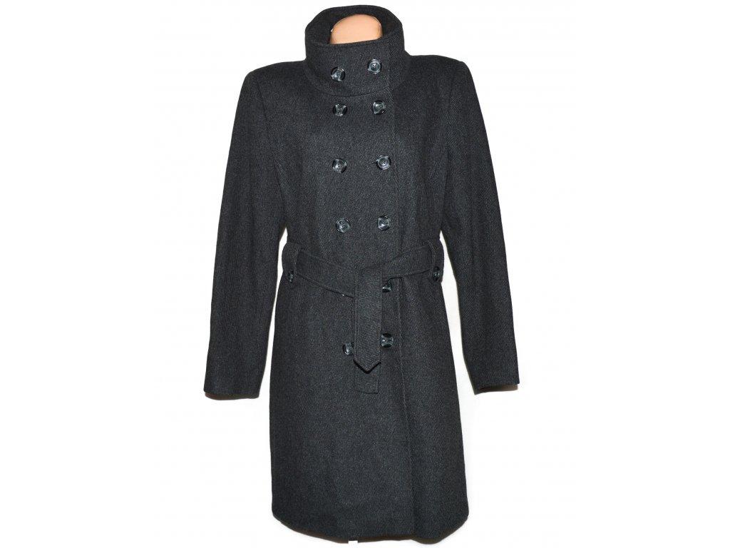 Vlněný (68%) dámský dlouhý šedý kabát s páskem AMARANTO XXL